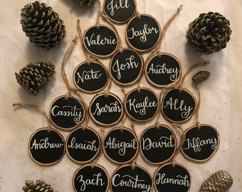 Personalized wood slice ornaments