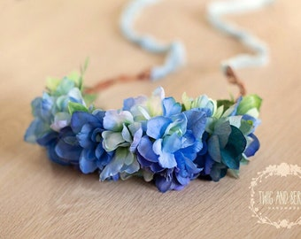 Blue Hydrangea Floral Crown. Maternity Wreath, Bridal Halo, Photography Prop, Adult Flower Headband, Photo Prop, Statement Vine Hair Piece