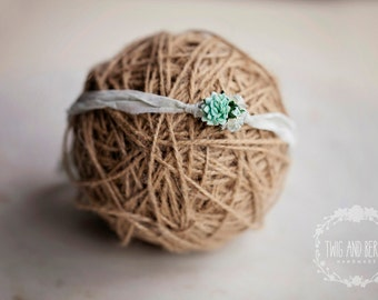 Pastel Mint Silk Tieback. Baby Headband, Photography Prop, Mint Green Newborn Prop, Blue Photo Prop, Aqua Newborn Prop, Hand-dyed Silk Prop