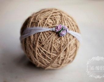 Pastel Lilac Silk Tieback. Baby headband, Photography Prop, Newborn Photo Prop, Soft Purple Photography Prop, Mauve Headband, Flower Prop