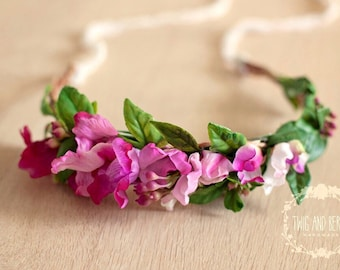 Pink Ombre Floral Crown. Maternity Wreath, Bridal Halo, Photography Prop, Adult Flower Headband, Photo Prop, Statement Vine Hair Piece