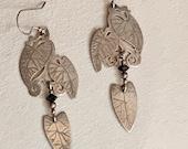 Vintage Sterling Art Deco Style Earrings Sterling Silver Leaf Earrings Dangle Artesian Signed Paul Marie Sterling Silver Earrings Jewelry