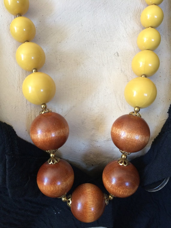 Chunky Lucite Necklace Vintage Yellow Lucite Wood