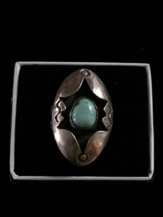 Sterling Navajo Turquoise Ring Sterling Native American Turquoise Ring Turquoise Shadow Box Ring Shadow Box Ring Old Pawn Ring Size 5