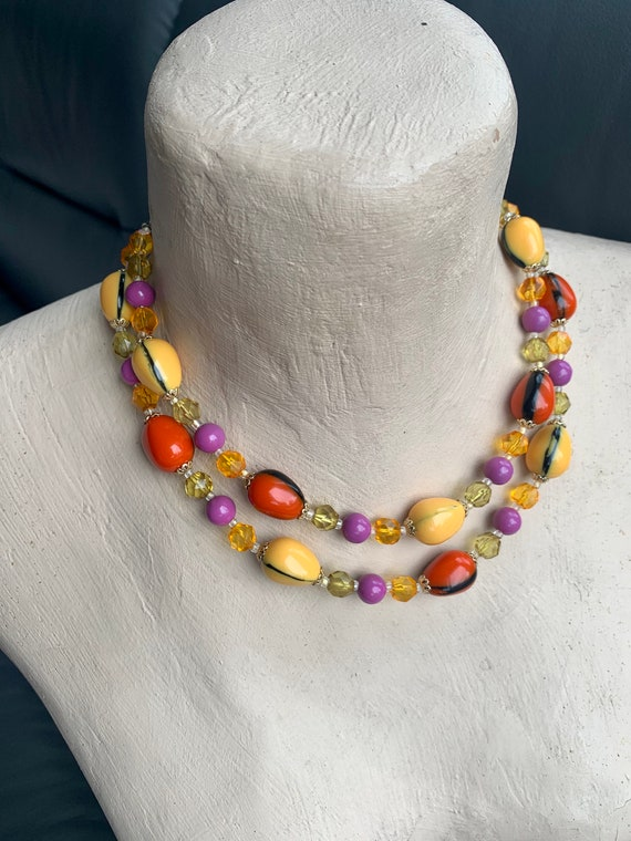 Vintage Lucite Chunky Necklace Injected Stripe Col