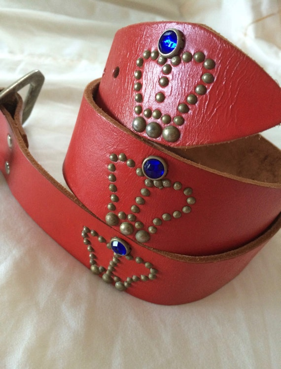Red Leather Belt / Vintage Rhinestone Belt / Wide