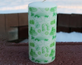 Saint Patrick's Day Patterned Pillar Candle