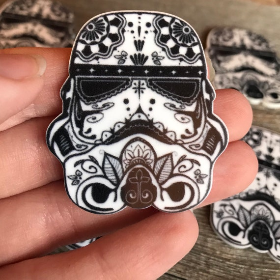 Tattoo Flash Style Storm Trooper Star Wars Planar Resin For Brooch Or Pin Kawaii Decoden Cabochon Flatback Sold Individually Rose Flowers