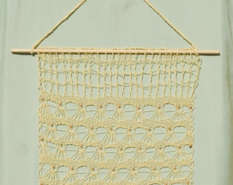 """Lacy beaded knit wall hanging, 18"""" x 18"""""""