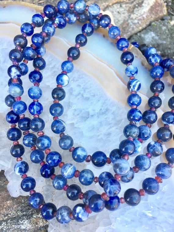 Garnet & Sodalite Wrap Necklace