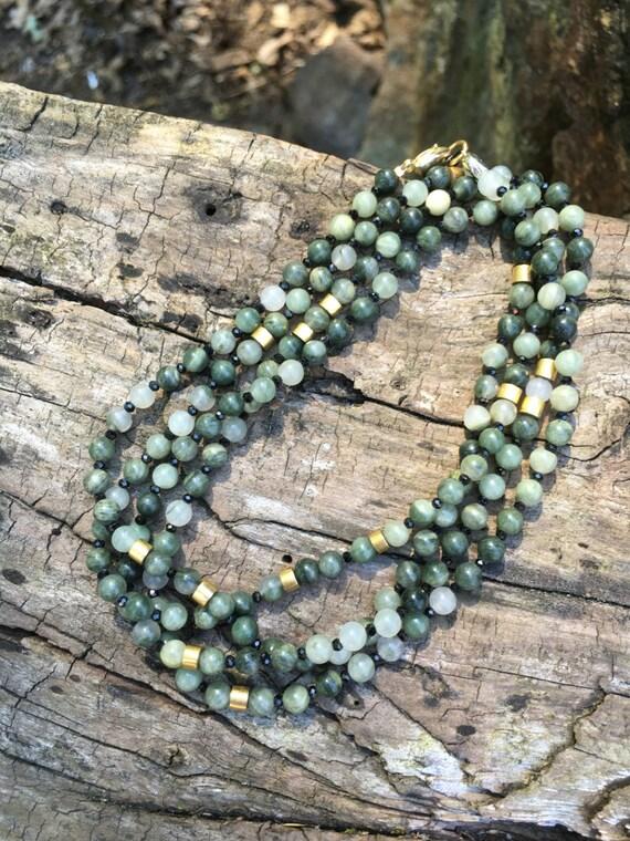 Agate & Black Spinel Gemstone Necklace