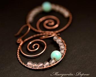 Amazonite earrings with rose quartz-Boho earrings-tribal-copper