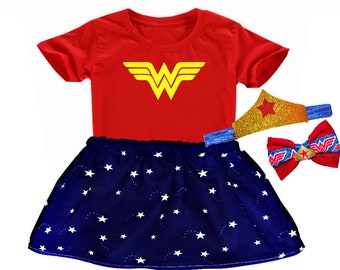 Wonder Woman Inspired Set with RED top - DC Comics Heroin Girl Super Hero a17a647c8a