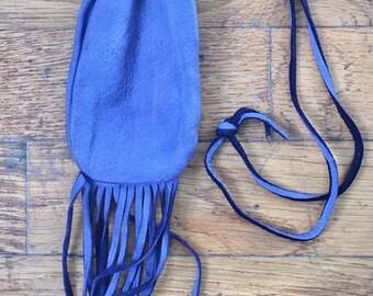 Violet Medicine Fringed Bag