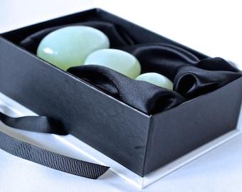 Jade Yoni Egg Set |Set of 3 Drilled Jade Kegel Eggs | Yoni/Ben Wa/Vaginal/Pelvic weights | Genuine Jade Eggs | Yoni | FREE SHIPPING