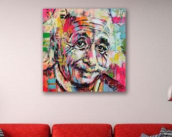 Albert Einstein - Icon Canvas Print Wall Art / Stretched or Rolled  sc 1 st  Etsy & Einstein wall art | Etsy