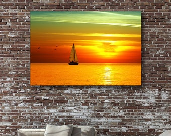 Yacht in the Sunset - Seascape Canvas Print Wall Art / Stretched or Rolled / Available in 1, 3, and 5 Panels