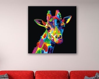 216917e99ff Rainbow Giraffe - Animal Canvas Print Wall Art / Stretched or Rolled / 1,  3, 5 Panel option