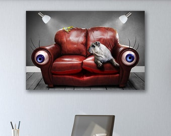 Dog On A Couch - Animal Canvas Print Wall Art / Stretched or Rolled / Available in 1, 3, and 5 Panel Versions
