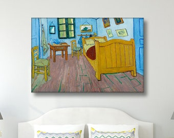 Vincent van Gogh - Bedroom in Arles / Reproduction Canvas Print Wall Art / Framed or Frameless / Available in 1, 3, and 5 Panel version