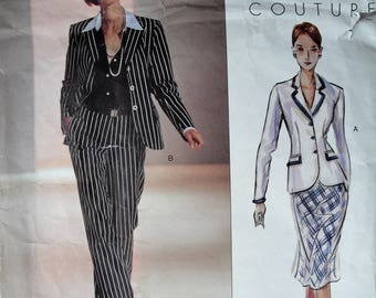 Misses Jacket Blouse Skirt Pants, Vogue 2631, Vogue Couture, Sewing Pattern, Size 12 14 16, A Line Skirt, Hip Length Jacket, French Cuffs