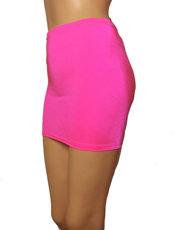 Hot Pink Elastane Spandex Stretch Bodycon Mini Jupe S9