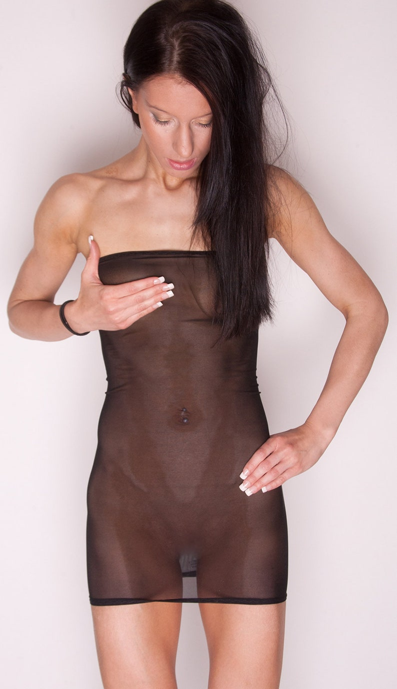 Black Net See Through Sheer Mesh Boobtube Dress Lingerie D20