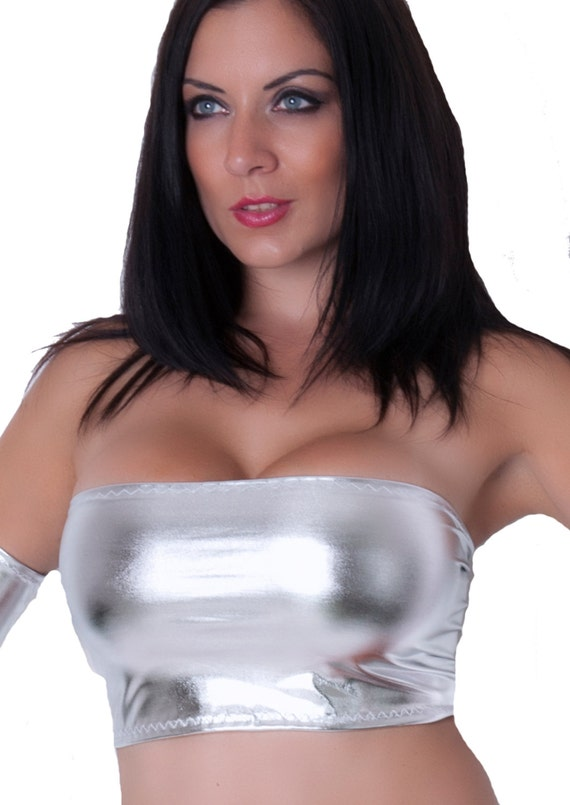 474de59228 Metallic Silver Wet Look Shiny Boob Tube Top Bandeau Lycra