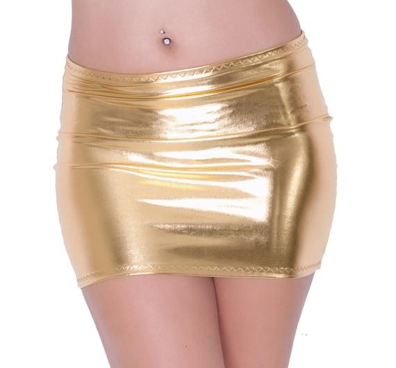 Minirock Gold Metallic glänzend nass-Look Lycra Spandex Partei | Etsy