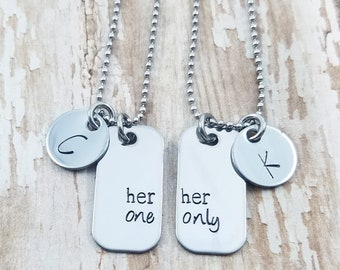 a33a24cda0 Her One Her Only hand stamped lesbian couples necklace set / mini dog tags  with initials disc / personalized couples necklaces / gay lesbian
