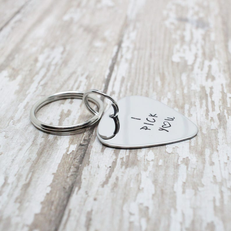 Hand stamped /'I pick you/' guitar pick keychain