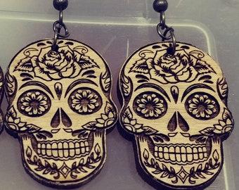 Sugar Skull Wooden Earrings