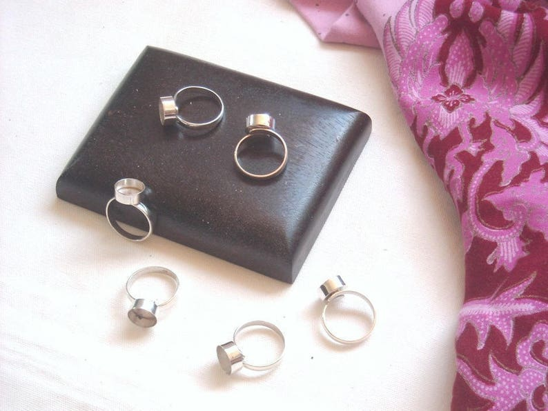 10 pcs 925 STERLING SILVER adjustable blank BEZEL ring 10 mm head diameter  #AdjustableSterlingSilverRings #SilverBlanks