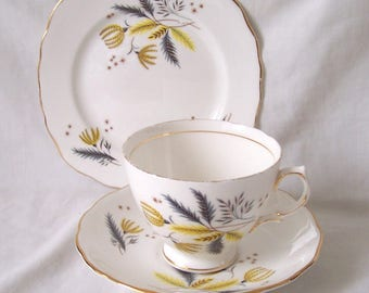 SALE Wild Grasses Florals Teacup Trio - Cup, Saucer, Plate c.1950 Colclough China