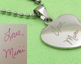 Real Handwriting Custom Engrave Steel Heart Shape key Chain Neclack