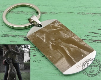 Photo Dog Tag, Photo engrave etch keyring, Personalized Laser Engrave, Solid Stainless Steel, Dog Tag for Dogs Cats, Pet Master, Keyring