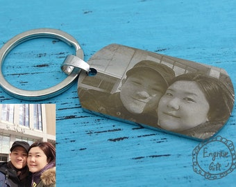 Couple Photo Keyring, Photo Engrave, Handwriting, Handwritten Necklace, Key Chain, Dog Tag, Personalized Necklace, Personalized Jewelry