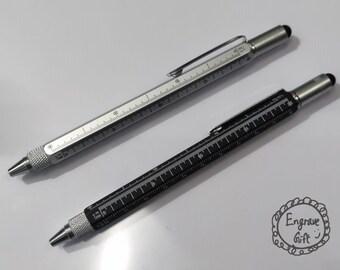 Custom Engrave Multi-function tool ball pen, stylus, six-sided posture, metal pen holder, ball-point pen, screw driver, spirit level