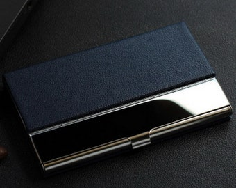 Personalized Business Card Holder in Text Handwritten Logo Laser Engraved Leatherette 12 colors available