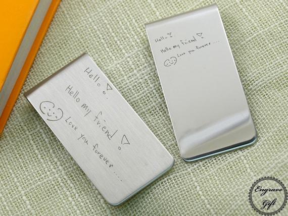 Votre écriture réelle Signurate dessin Laser Memorial Script texte graver argent Clip signet Stainles acier pour idée cadeau