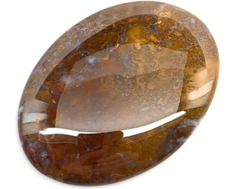 67.5 x 35 x 5 mm Natural Plume Agate Gemstone Cabochon Handcrafted in USA.