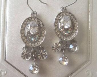 Reduced...Vintage Signed KEYES Rhinestone Clip Back Earrings...Canadian Designer...Wedding...Graduation