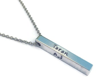 Personalized 3D Bar Necklace - 4 Sided Bar Necklace -  3D Bar Necklace - Personalized Bar Necklace - 4 Sided Bar - Bar Necklace - Silver Bar