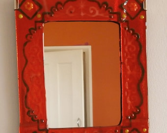 Tangerine glass decorated mirror frame, glamorous, sumptuous and gorgeous.