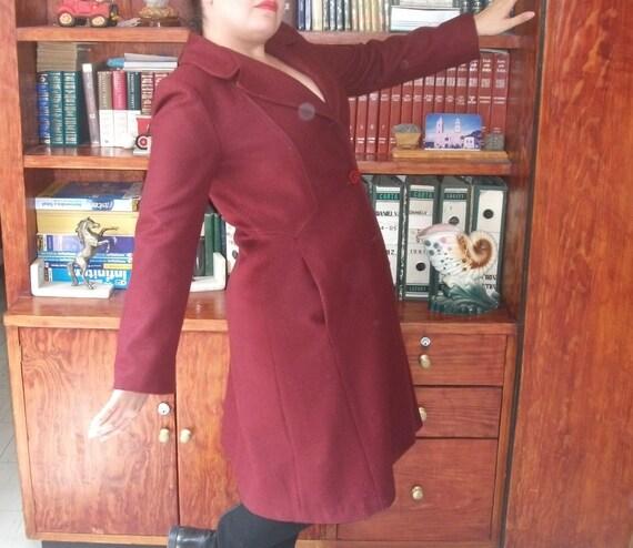Swing Coat, 70s Red Wine Wool Vintage Coat, Trapez
