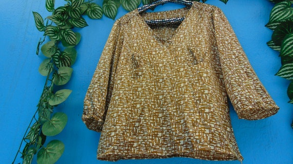 90s Silky Top, Geometric Print Blouse, 90s does 60