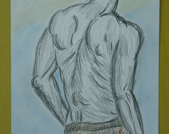 Act male nude pencil pastel back