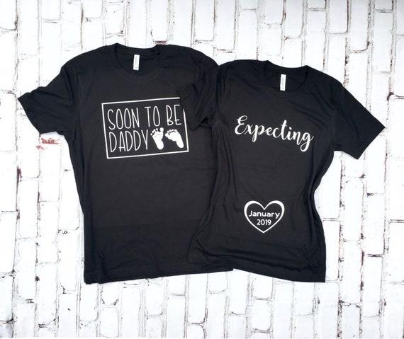 ec91b1c4a Pregnancy Reveal shirts Couples pregnancy Announcement