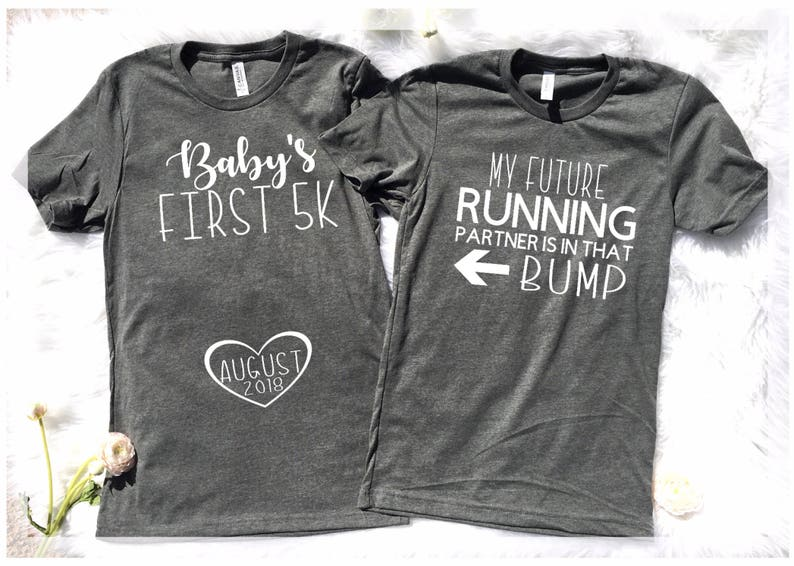 9e5cdba7228ac Running couples 5k Couples pregnancy Announcement Couples | Etsy