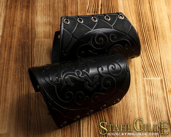 Handmade Unicorn Leather Cuff Archery Arm LARP Bracers Armor Scale